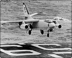 A3D-1Skywarrior bomber about to land aboard the carrier U.S.S. Forrestal