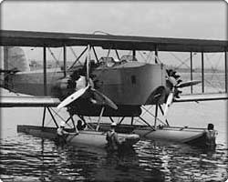T2D-1 torpedo bomber with floats in the water