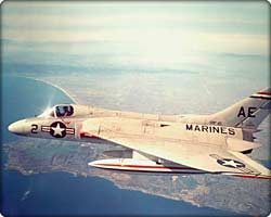 F4D Skyray fighter jet in flight