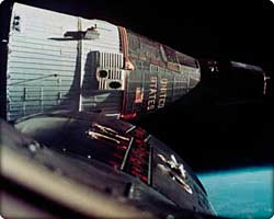 First rendezvous in space during the flights of Gemini VII and VI on Dec. 15, 1965