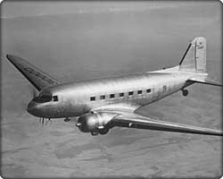DC-3 commercial transport in flight