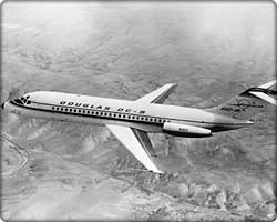 DC-9 commercial transport in flight
