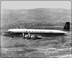 DC-7 commercial transport in flight