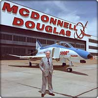 James S. McDonnell in front of 5,000th F-4 Phantom II and MDC hangar (Neg#: c12-6535-21)
