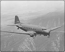 C-47 Skytrain military transport in flight