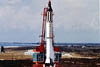 Mercury space capsule launches atop a Redstone rocket