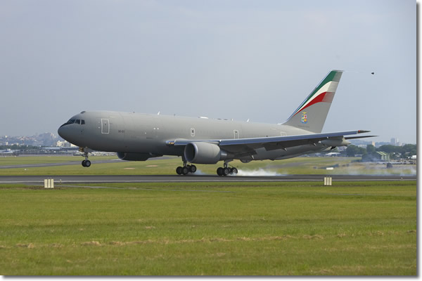 KC-767A landing on runway