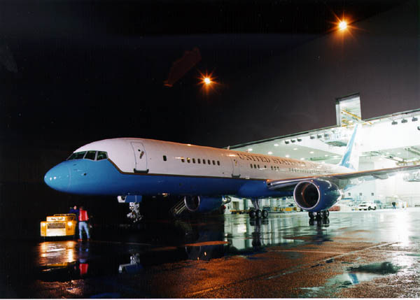 C-32A executive transport rolls out of a Boeing paint hangar in Renton