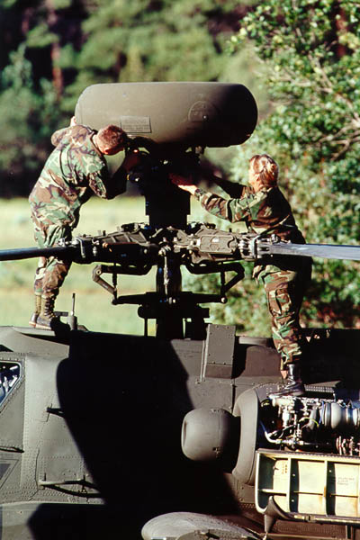 Soldiers working on Apache Longbow