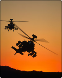 Two Apaches in flight (Neg#: DVD-1098-1)