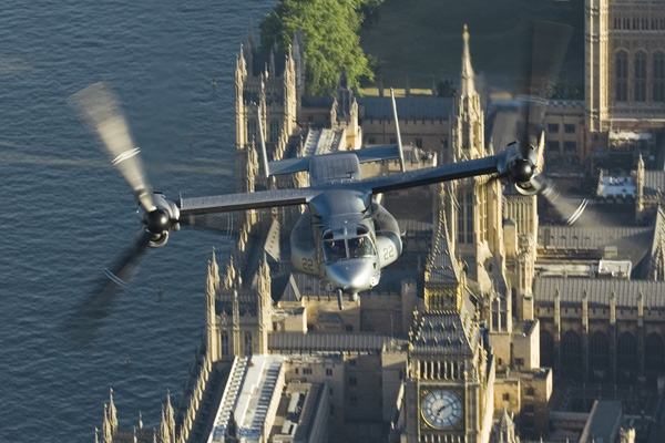 July 16, 2006 Bell Beoing V22 Osprey Flies over the River Thames London, UK. during their arrival to the Farnborough International Air Show. The aircraft are from Marine Squadron VMX 22 based in New River, North Carolina.