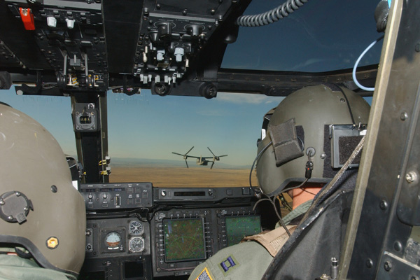 The CV-22 digital cockpit reduces pilot workload during Special Operations missions.