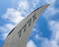 Folded wing of the 777X when on the ground