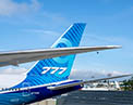 Wing in flight mode and tail of 777X-9
