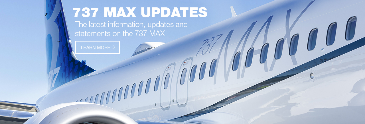 7 3 7 MAX information, updates and statements.  Picture of a 7 3 7 MAX Boeing airplane.