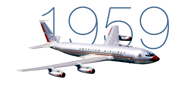 Image result for first transcontinental flight of a boeing 737 by american airlines in 1959