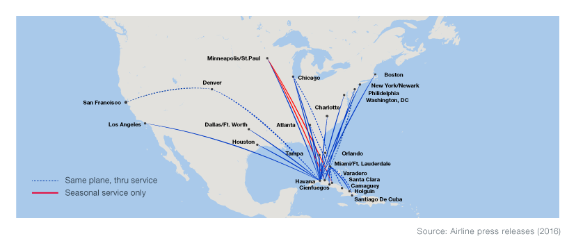 Boeing World Regions - Map of flights between us and mexico