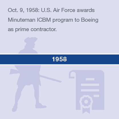 Oct. 9, 1958: U.S. Air Force awards Minuteman ICBM program to Boeing as prime contractor.