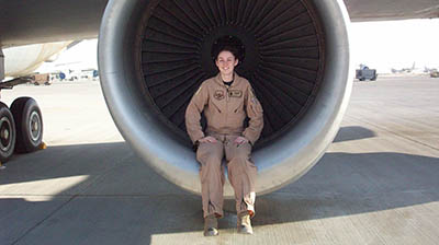 Danielle sitting in engine pic