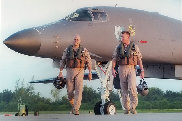 Boeing team members West Anderson (L) and Rob Gass (R) flew the B-1 in combat and use their experience to identify opportunities to modernize and modify the aircraft.