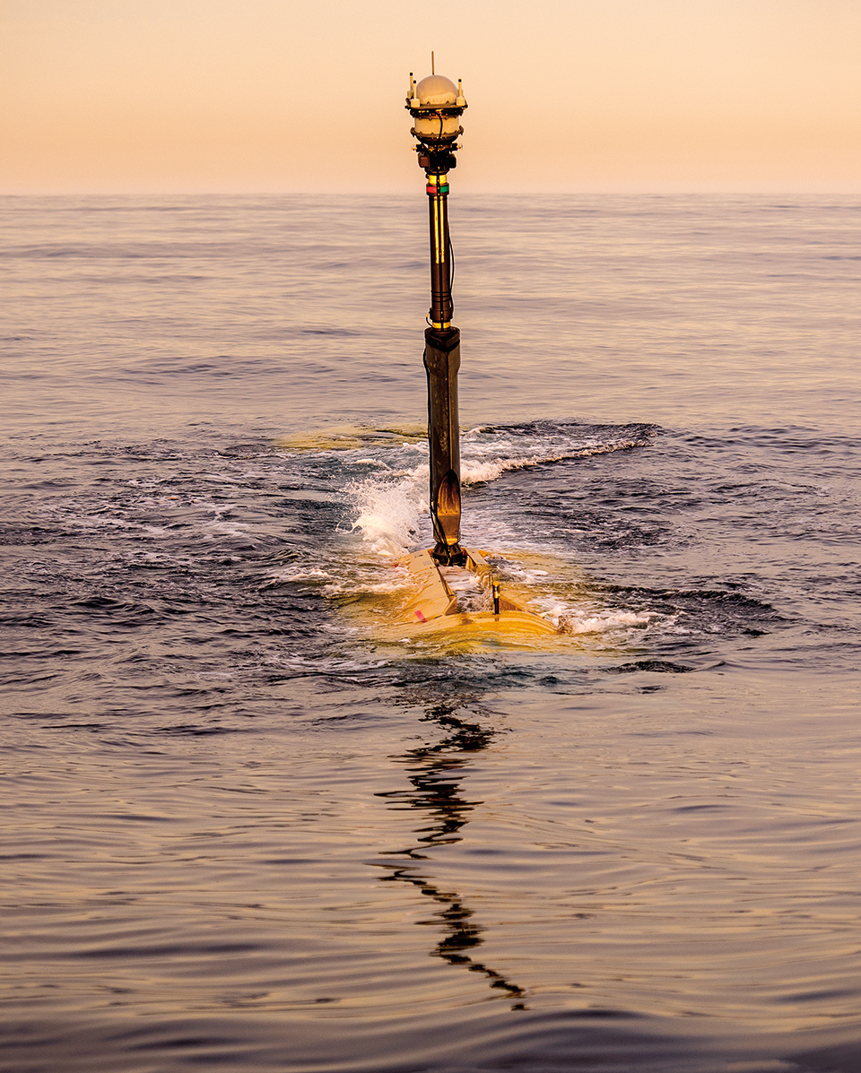 Echo Voyager, Boeing's extra-large unmanned undersea vehicle, or XLUUV, when it's in the water.
